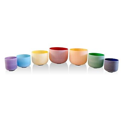 Colored Chakra Tuned Set Of 7 Crystal Quartz Singing Bowls Size From 6''-12''