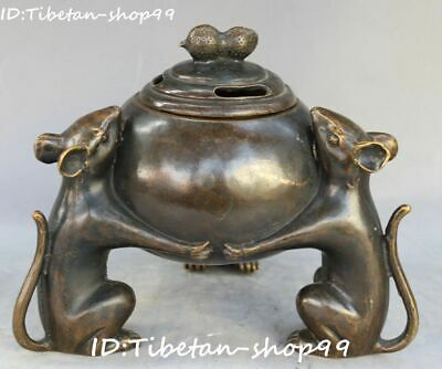 Chinese Bronze Qing Dynasty Mouse Mice Rat Animal Incense Burner Censer Statue