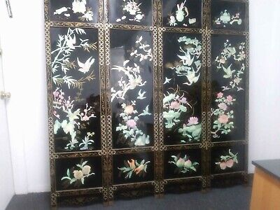 Authentic 1940's Antique Black Laquer Chinese 4 Panel 72 inch Screen Pearl Inlay