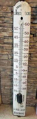 Antique Large Pharmacy Thermometer Paris France French Enamel Steel