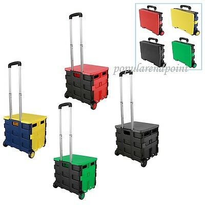Folding Shopping Boot Cart Trolley Grocery Fold Up Storage Box Wheels Crate &Lid
