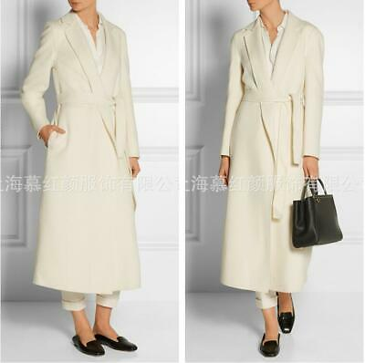 Occident Women's High-end Wool Blend Belt Parka Cashmere Warm Long Coat Overcoat