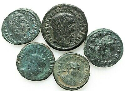 LOT OF FIVE ANCIENT ROMAN COINS,Roman Imperial (27 BC-476 AD)A
