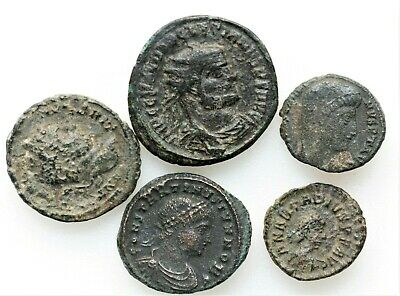 LOT OF FIVE ANCIENT ROMAN COINS,Roman Imperial (27 BC-476 AD)E