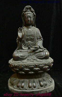 "26"" Old China Buddhism Pure Bronze Kwan-yin Guan Yin Goddess Boddhisattva Statue"