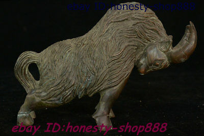 Old Folk China Bronze Feng shui 12 Zodiac Year Animal Ox Bull Oxen Wealth Statue