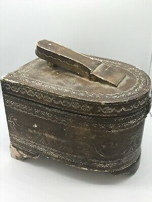 Vintage/Antique Shoe Shine Box wood ornate intricate carved detailed Turkish