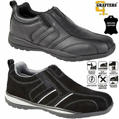 Mens Ladies Lightweight Leather Safety Work Boots Steel Toe Cap Shoes Trainers