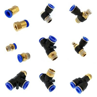 Pneumatic push-in quick release fittings connectors air water hose BSP thread