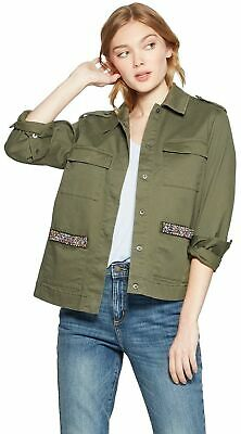 A New Day Women's Military Jacket with Pocket Beading (Olive, Small)