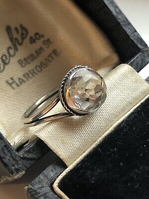 Antique Art Deco Silver Ice White Rock Crystal Ring Size L Gift Boxed Christmas