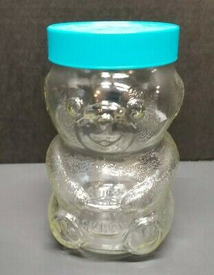 Vintage Glass Skippy Peanut Butter Bear Jar, 48 Oz