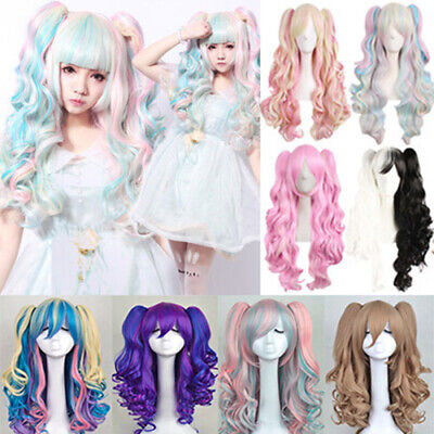 Hot Fashion Lolita Full Curly Wig Pigtails Wavy Hair Cosplay Costume Anime Party