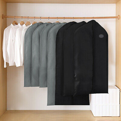1/5x Suit Bags Hanging Garment Storage Cover Dress Clothes Coat Dust Protector