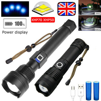 900000LM XHP70 XHP50 LED Surper Bright 18650 Battery Flashlight Torch Zoomable