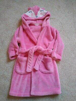 Girls Pink Fox Dressing Gown - 2-4 Years Mothercare