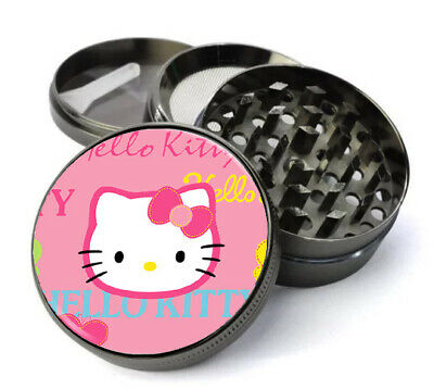 55mm 2.1 inch Titanium 4 Part Grinder with Crystal Doming Design Pink Kitty 123