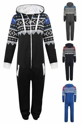 Kids Boys Girls Aztec Plain Hooded 1Onesie All In One Jumpsuit Sizes 7/13 Years