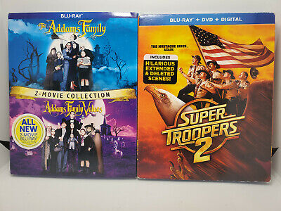 Addams Family+Family Values & Super Troopers 2 (Blu-ray+DVD+Digital+Slip Cover)