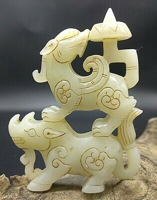 Certified Exquisite Hand-carved Mythical Animals carving hetian jade statue A1