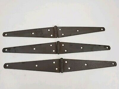 "3 Architectural 16""Antique Barn Door Gate Strap Hinges Cast Iron Primitive VTG B"