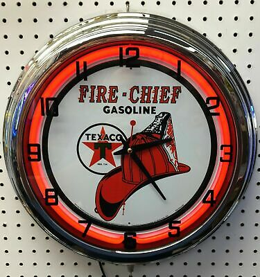 """Retro 17"""" Texaco Fire Chief Gas Station Sign Red Neon Wall Clock Man Cave"""