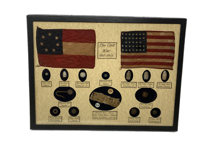 Civil War Relics, Bullets, Harmonica Reed in Display Case (16 Piece) with COA
