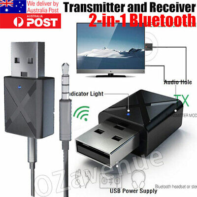 2 in 1 USB Bluetooth 5.0 Transmitter Receiver AUX Audio Adapter for TV/PC/Car OZ