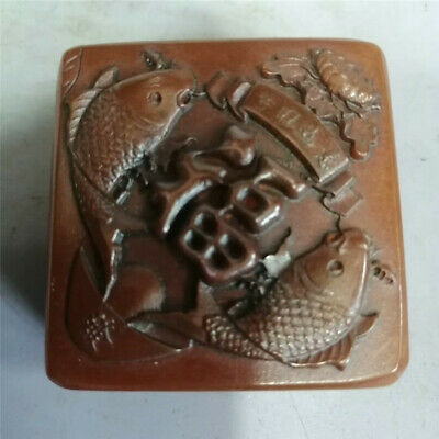 Collect Chinese natural Shoushan Stone Hand-carved Fish Word seal signet stamp