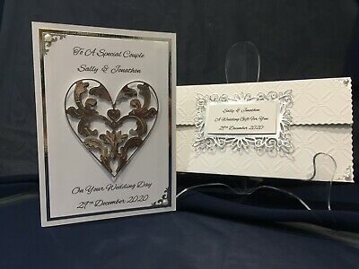 Handmade Wedding Card & Money/Gift Wallet -  **Personalised**  Silver or Gold 3D