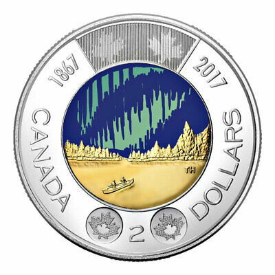 Canada 2 Dollars Toonie Coin, Dance of the Spirits, Northern Lights, COLOR, 2017
