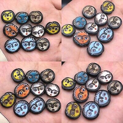 Wonderful Roman Unique Old Rare Mosaic glass Faces 10 Beads