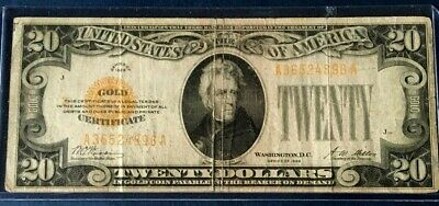 1928 $20 LEGAL TENDER  GOLD CERTIFICATE  WOODS/MELLON  (AA Block)
