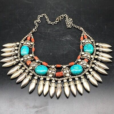 Old wonderful Unique Silver Stunning turquoise coral Lovely necklace 200Gr