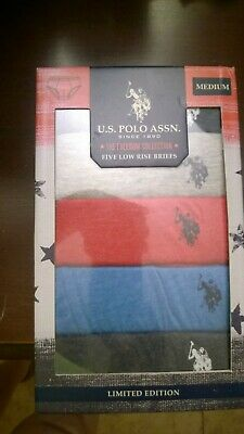 U.S. Polo Assn. Limited Edition Men's Low Rise Briefs 5 pack Size Medium