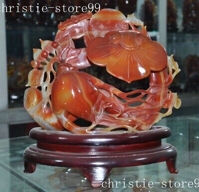 Chinase natural agate jade Hand-carved Ginseng auspicious Ruyi money Coin statue