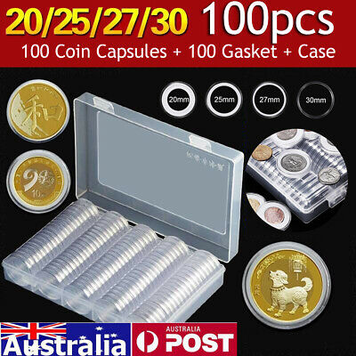 20-30mm Round Plastic 100pcs Coin Capsules Storage Holder Case Collection Boxes
