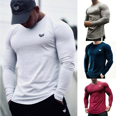 2019 Men's Casual Gym Muscle Long Sleeve T-shirt Fitness Workout Sport Tee Tops