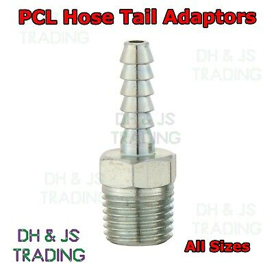 PCL Hose Tail Adaptors - Genuine 1/4 3/8 1/2 BSP Airline Fittings Air Line