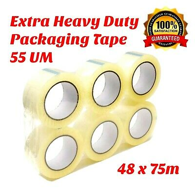 Sticky Tape 48mm x 75m Packaging Tape Clear Packing Tape  Heavy Duty Thick 55UM