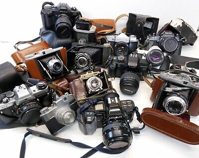 Vintage Cameras Bundle - SLR, Bellows, Canon, Praktica, Kodak, Balda Job Lot