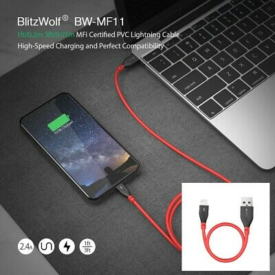 BlitzWolf BW-MF11 2.4A 0.3m MFi Certified Apple Lightning Charging Data Cable