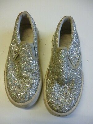Girl's Silver glittery trainers / soft shoes / plimsolls size 11uk Next