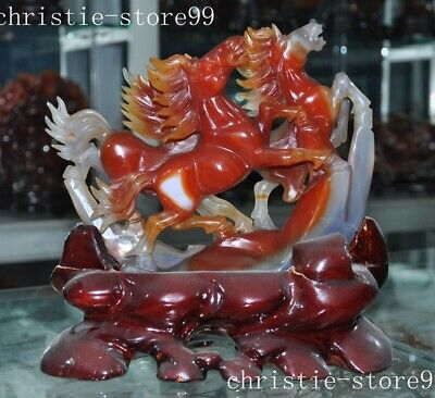 Chinase natural agate jade Hand-carved animal horse Win instant success statue