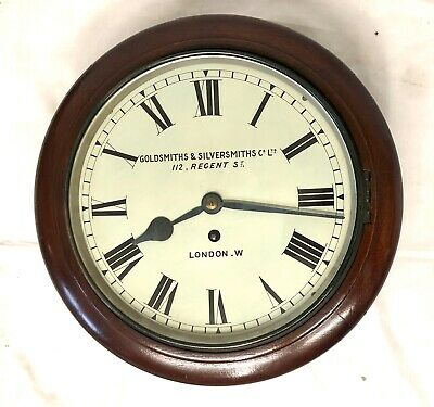 Antique Mahogany Fusee Wall Clock GOLDSMITHS & SILVERSMITHS 112 REGENT ST LONDON