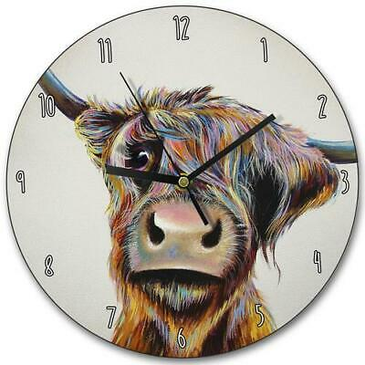 Highland Cow Wooden Clock Wall Mount Clock- A Bad Hair Day - By Adam Barnsby