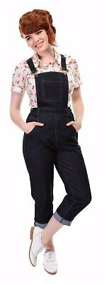 Collectif Coco Navy Blue 50s Denim Cropped Dungarees