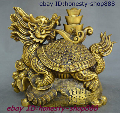 "14"" China Copper Brass Dragon Tortoise Loong Turtle Yuan bao Coins Wealth Statue"