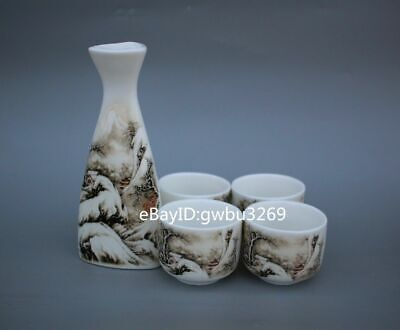 Collection Chinese porcelain handmade painting landscape wine cup set
