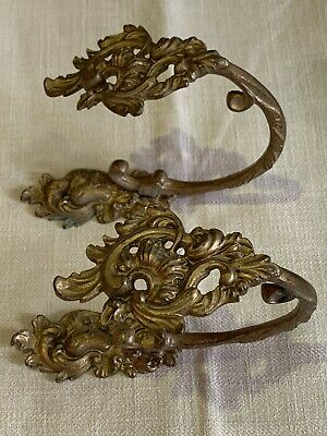 French Escape To Chateau Curtain Tie Back Gold Gilt Ormolu Louis 1800 Antique